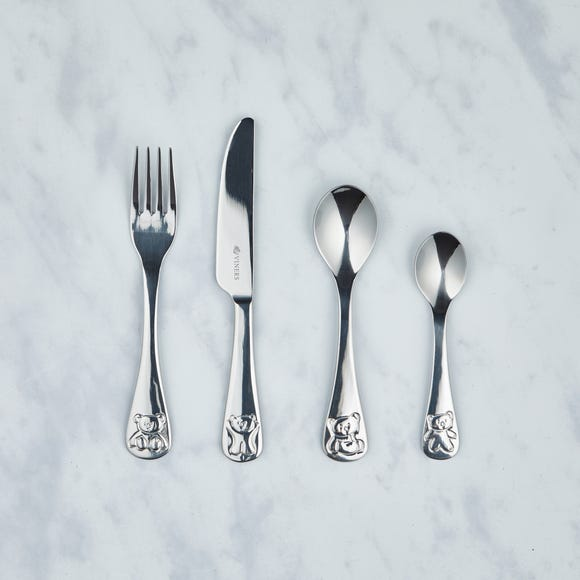 Kids Viners Bertie Bear 4 Piece Cutlery Set Stainless Steel