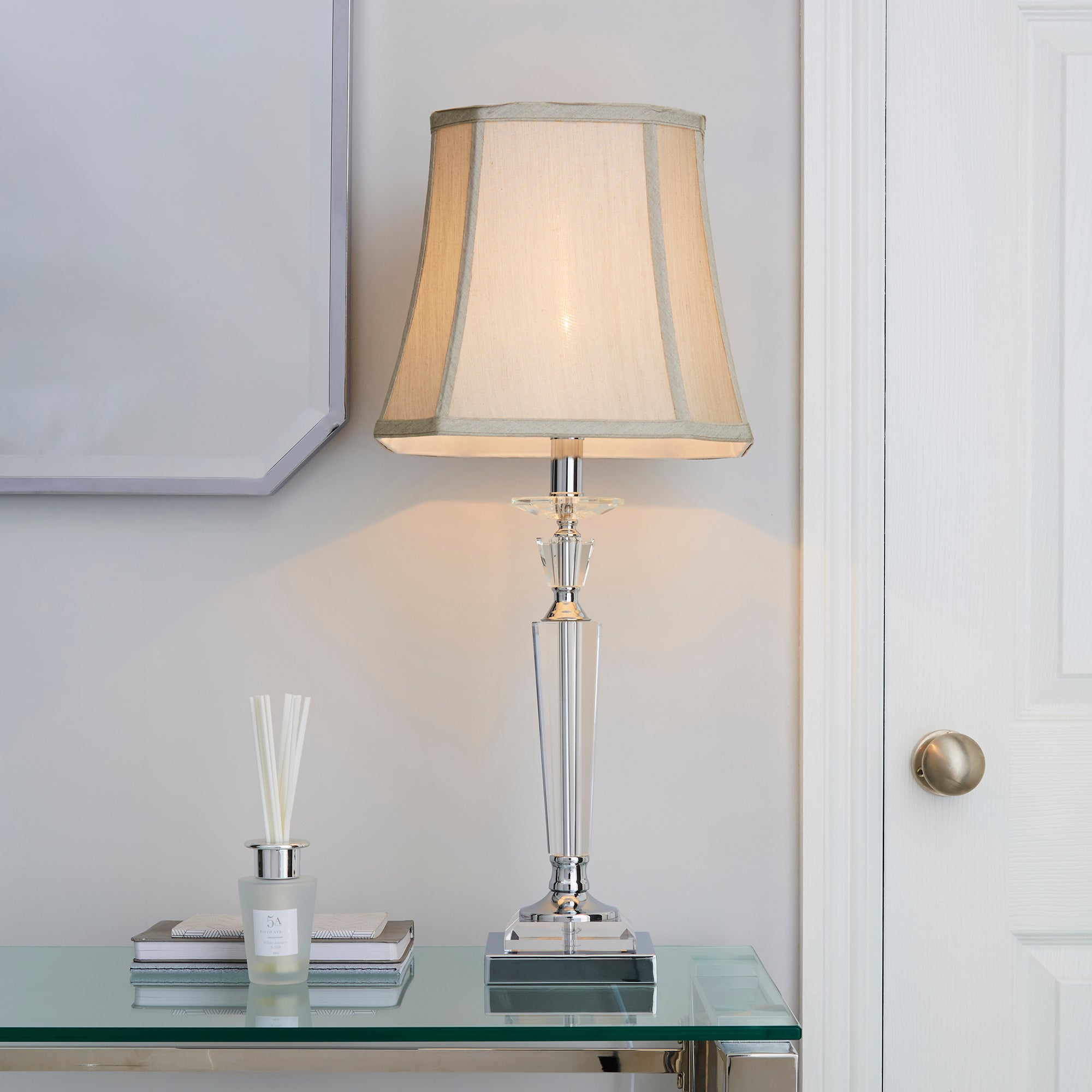 Windsor Clear Table Lamp Silver