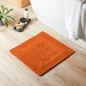 Super Soft Reversible Burnt Orange Square Bath Mat