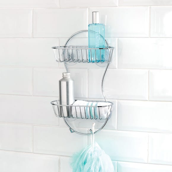 Bathroom Basics 2 Tier Shower Caddy Silver