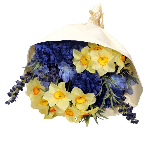 Artificial Paper Wrapped Spring Bouquet 34cm Multi Coloured