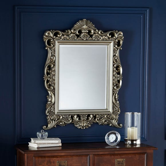 Bevelled Ornate Frame Wall Mirror 84x64cm Gold Champagne