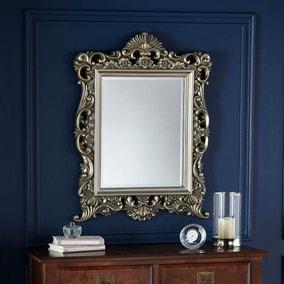 Bevelled Ornate Frame Wall Mirror 84x64cm Gold