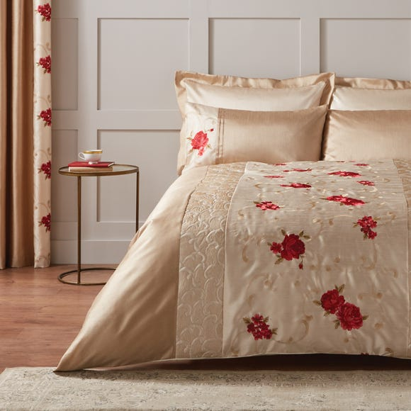 Juliet Embroidered Red Duvet Cover Dunelm