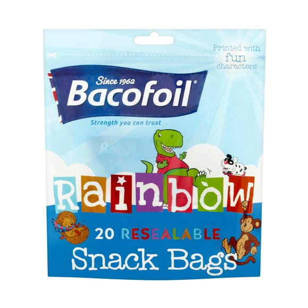 Bacofoil 20 Reusable Rainbow Kids Snack Bags MultiColoured