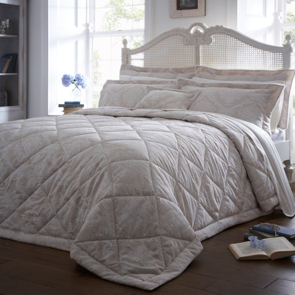 Dorma Aveline Natural Quilted Throw Natural undefined