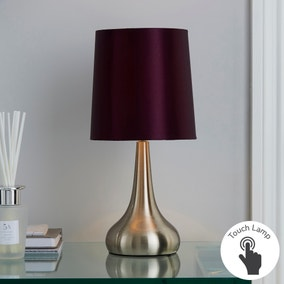 Rimini Blackcurrent Touch Dimmable Lamp Dunelm