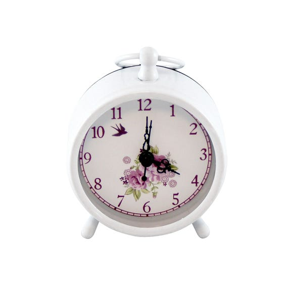 Plum Pudding Mantel Clock White