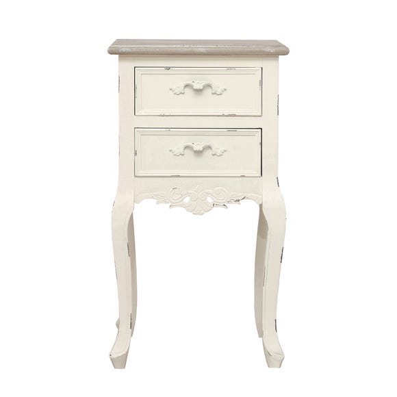 Camille Ivory 2 Drawer Bedside Table Ivory