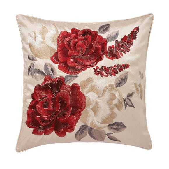 Embroidered Rose Cushion Wine (Red)