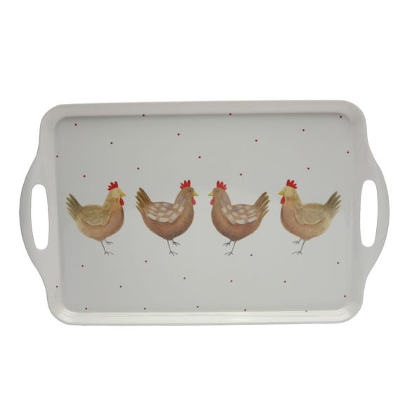 Henrietta Melamine Handled Tea Tray Cream