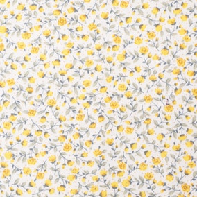 Yellow Floral Cotton Poplin