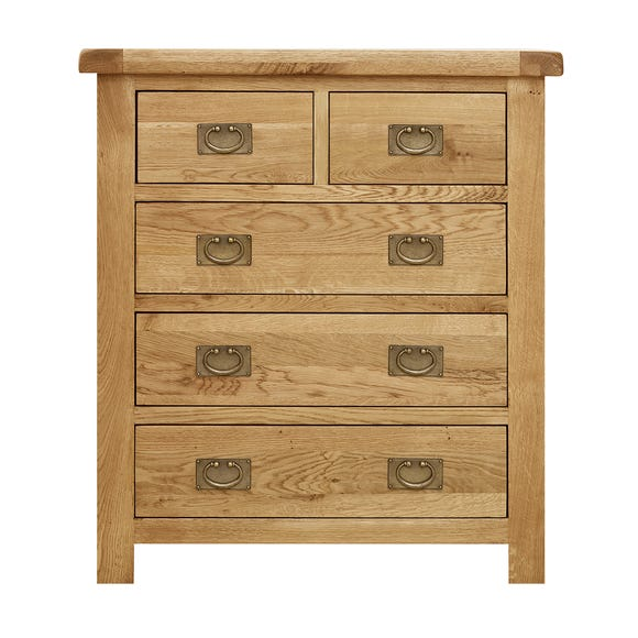 Aylesbury Oak 5 Drawer Chest Brown