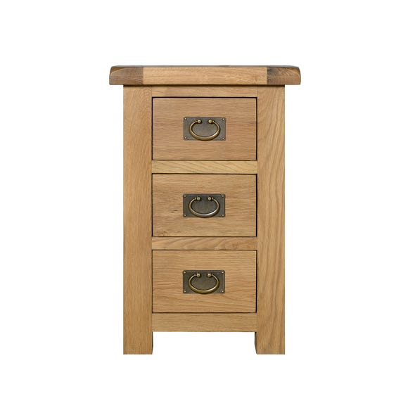 Aylesbury Oak Wide 3 Drawer Bedside Table Light Oak (Brown)
