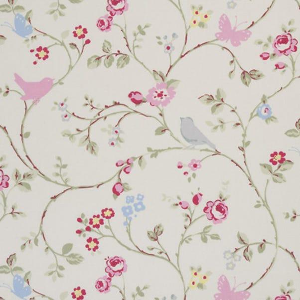 Bird Trail Print Grey Cotton Fabric MultiColoured
