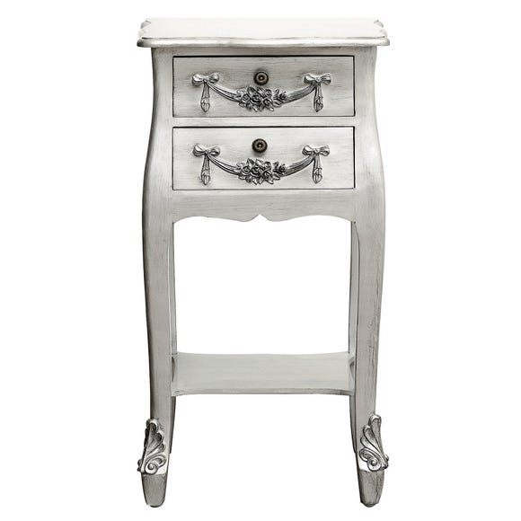 Toulouse Silver 2 Drawer Bedside Table Silver