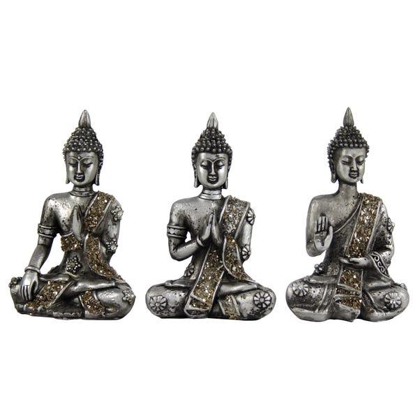 Set of 3 Buddhas Grey
