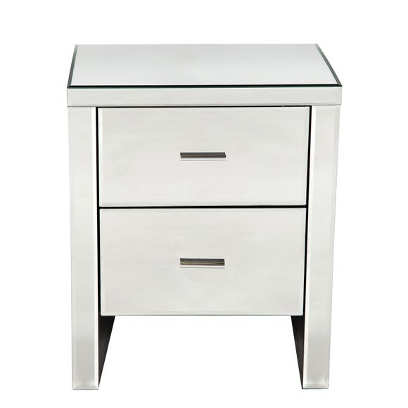 Venetian Mirrored 2 Drawer Bedside Table Clear
