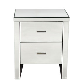 Venetian Mirrored 2 Drawer Bedside Table