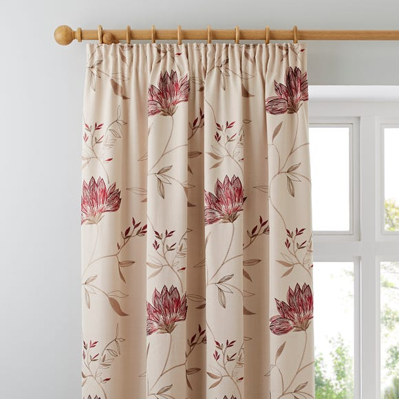 Amelia Red Pencil Pleat Curtains Red undefined
