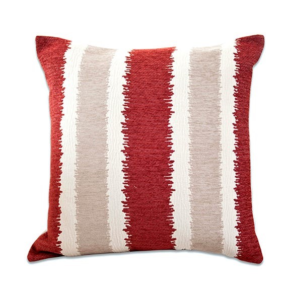 Large Chenille Striped Cushion Red