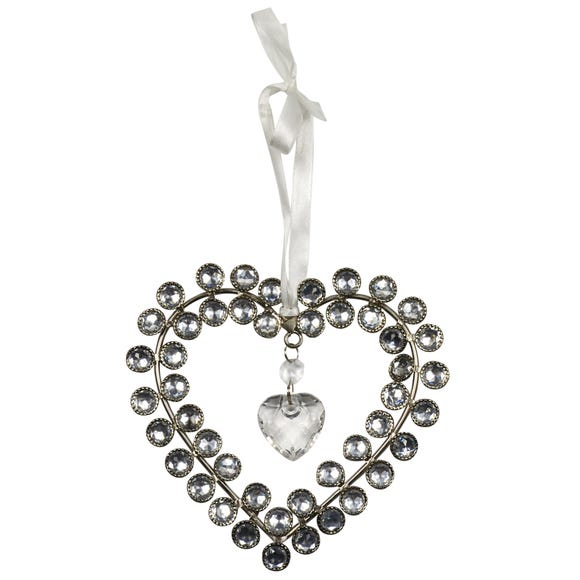 Sparkle Hanging Jewelled Heart Silver