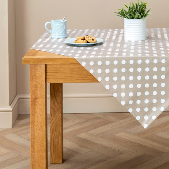 Taupe Dotty Square PVC Tablecloth Taupe (Brown)