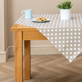 Taupe Dotty PVC Tablecloth