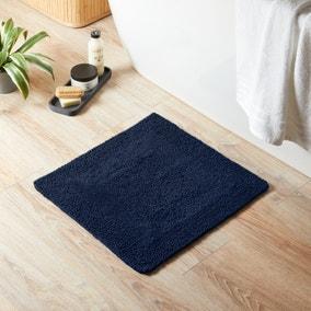 Super Soft Reversible Navy Square Bath Mat