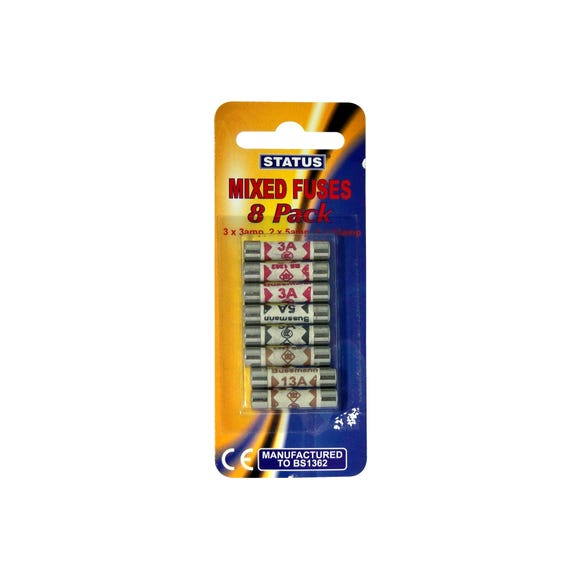 Pack of 8 Status Assorted Fuses Silver