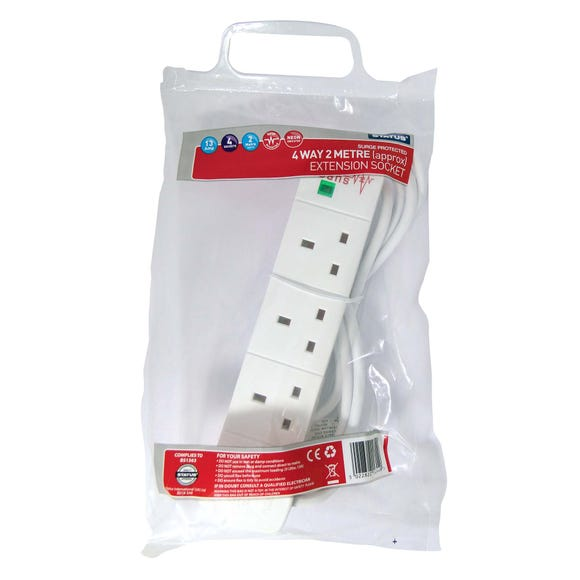 Status 4-Way 2 Metre Surge Protected Extension Lead White
