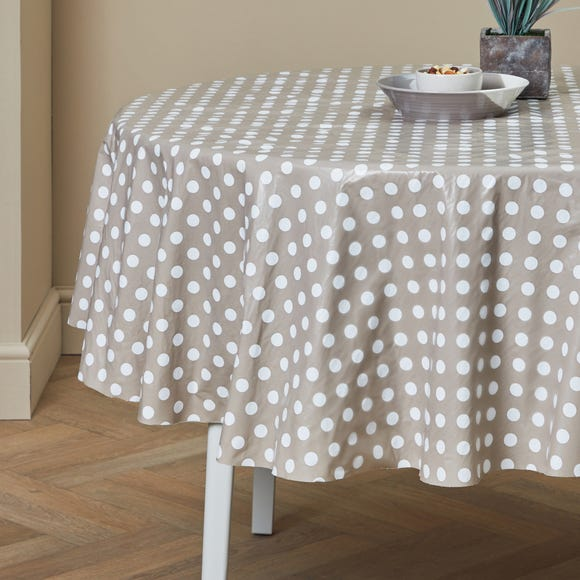 Taupe Dotty Round PVC Tablecloth Taupe (Brown)
