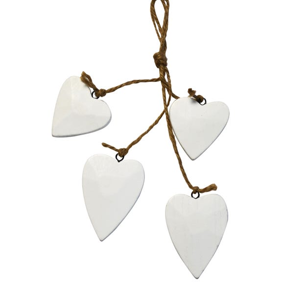 Blue Deco Set of Four Wooden Hanging Hearts White