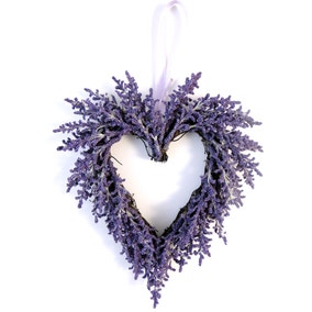 Artificial Lavender Purple Hanging Twig Heart 23cm