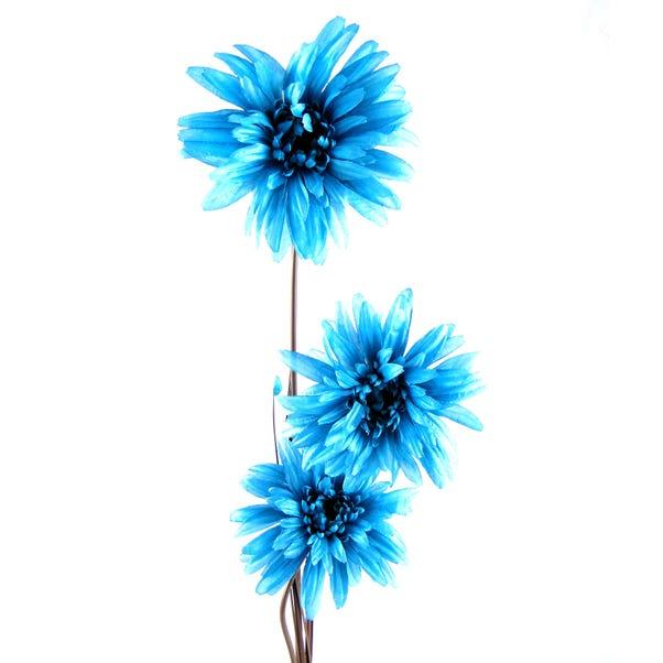 Artificial Daisy Teal Single Spray 85cm Teal (Blue)