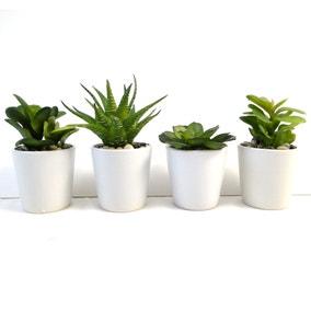 Artificial Succulents Green In Ceramic Pot 10cm