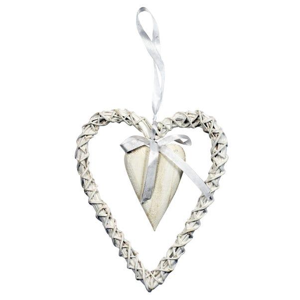Vintage Wicker Hanging Heart White