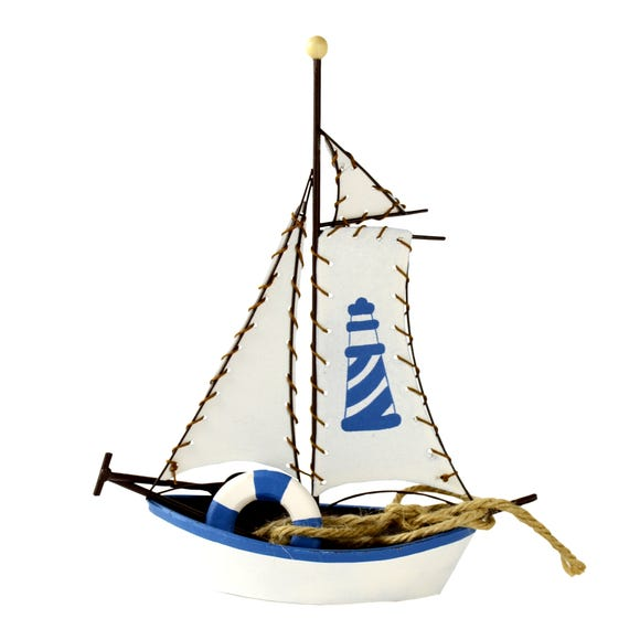 Nautical Large Decorative Boat Blue