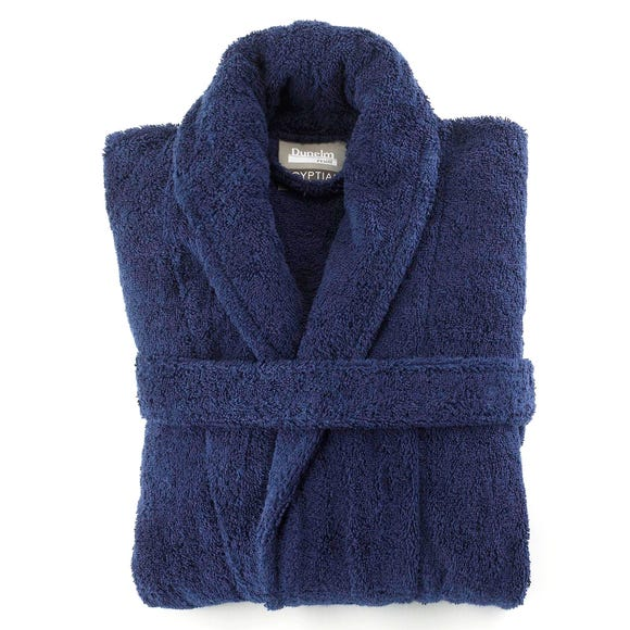 Egyptian Cotton Navy Blue Dressing Gown  undefined