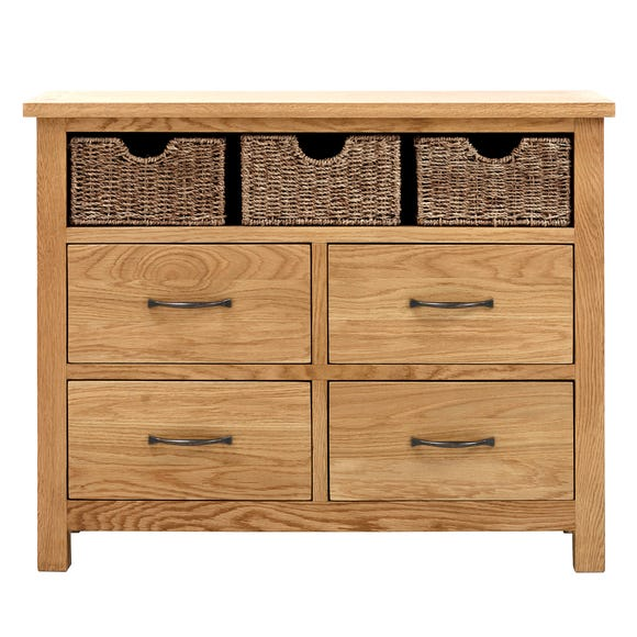 Sidmouth Oak Sideboard With Baskets Oak (Brown)