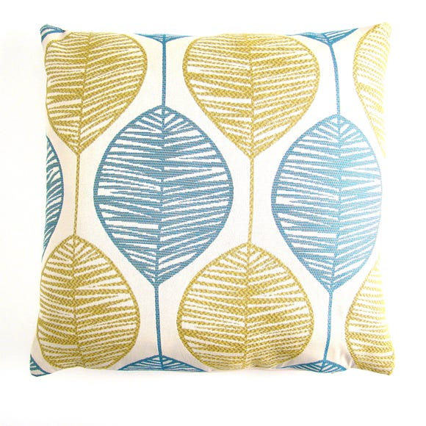 Retro Leaf Cushion Cover Blue