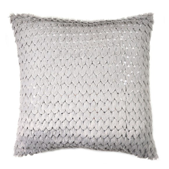 Sequinned Faux Fur Cushion Silver undefined