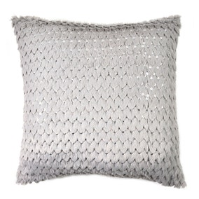 Sequinned Faux Fur Cushion