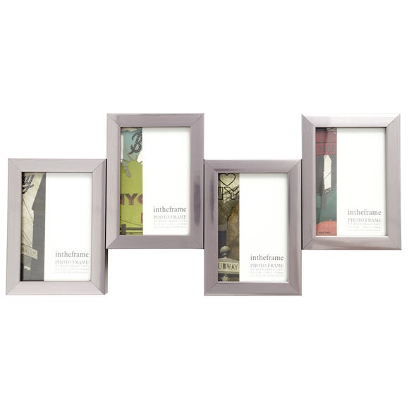4 Aperture Jigsaw Photo Frame Silver (Grey)