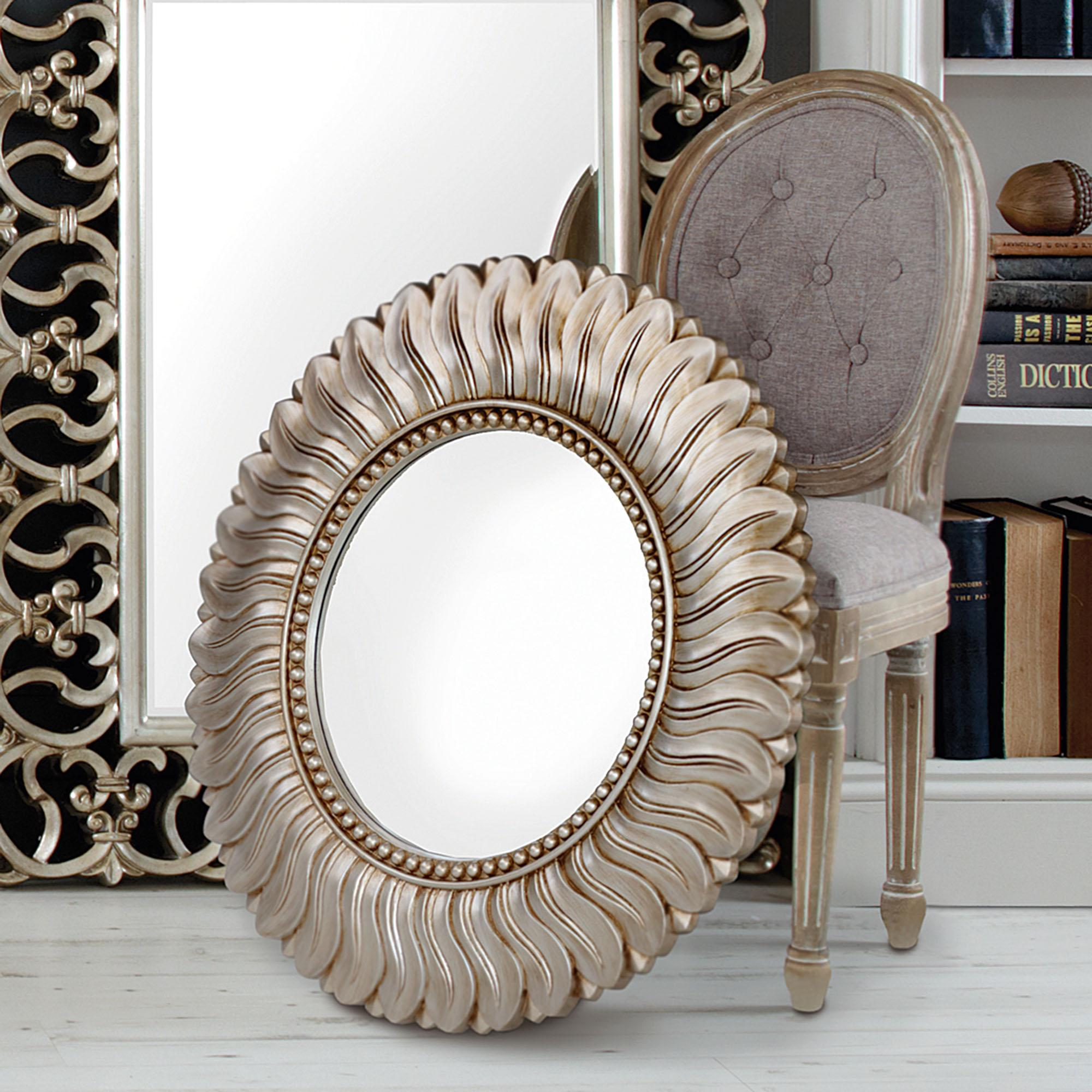 Click to view product details and reviews for Leaf Round Wall Mirror 75cm Champagne Champagne Gold.
