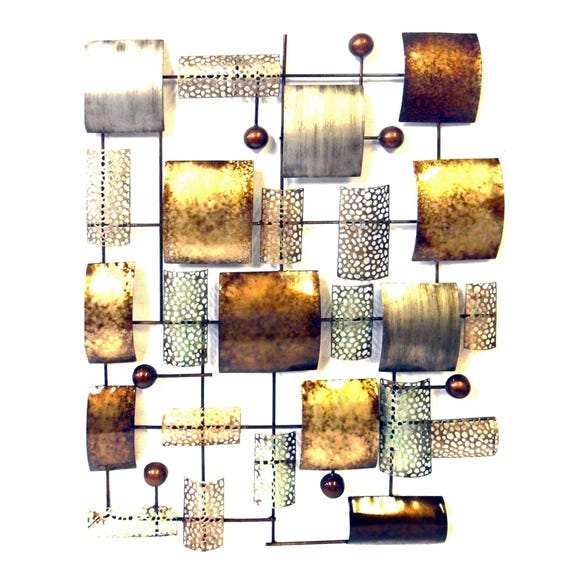 Abstract Metal Panel Wall Art Multi Coloured