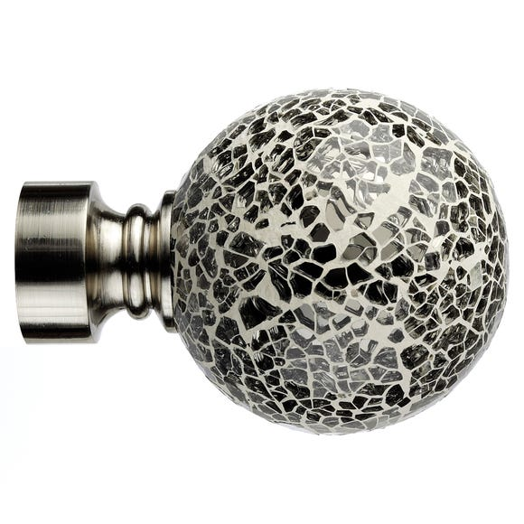 Mix and Match Mirrored Ball Finials Dia. 28mm Satin Steel (Silver)