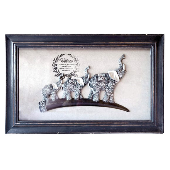 Framed Elephants Wall Art Natural