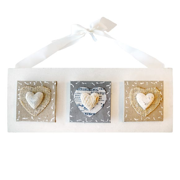Three Hearts on Canvas Hanging Sign Beige