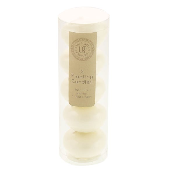 5 Piece Floating Church Candle Set Cream